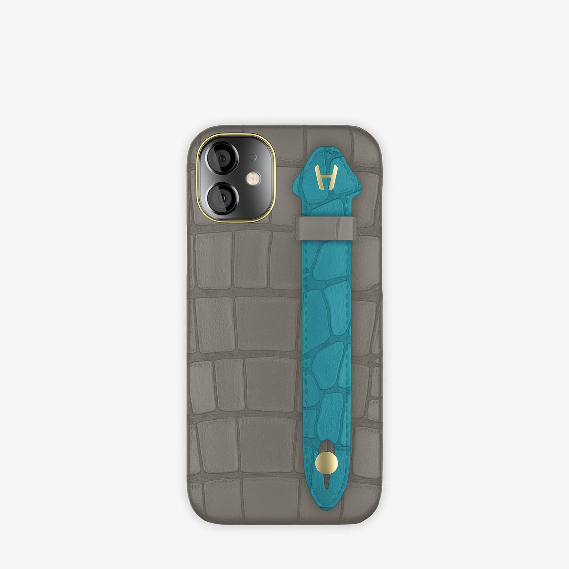 Alligator Side Finger Case iPhone 12 Mini | Grey Pearl/Blue Teal -Yellow Gold