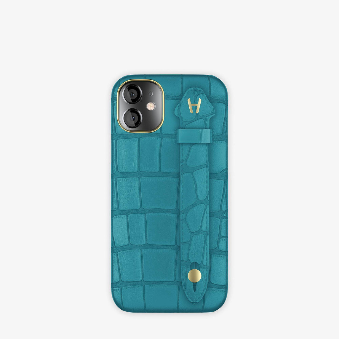 Alligator Side Finger Case iPhone 12 Mini | Blue Teal/Blue Teal -Yellow Gold