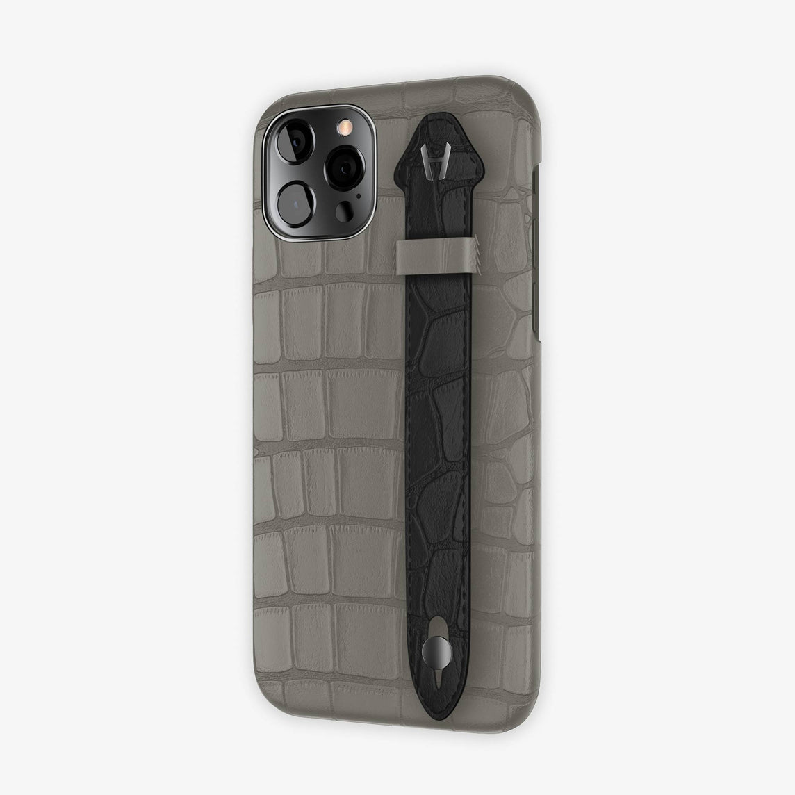 Alligator Side Finger Case iPhone 12 & iPhone 12 Pro | Grey Pearl/Black -Black