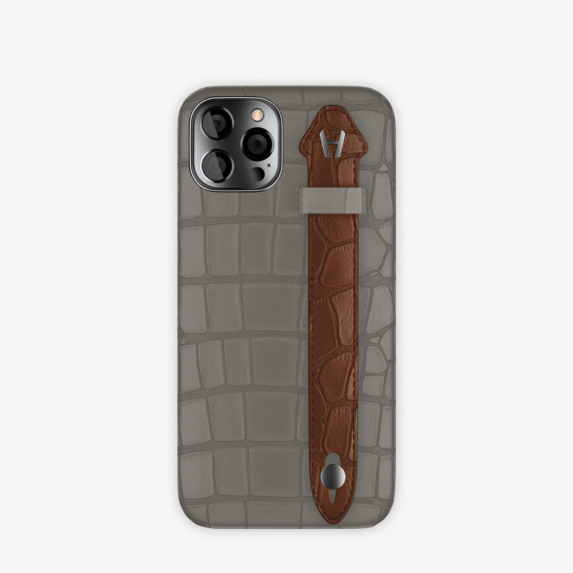 Alligator Side Finger Case iPhone 12 & iPhone 12 Pro | Grey Pearl/Brown Chocolat -Black