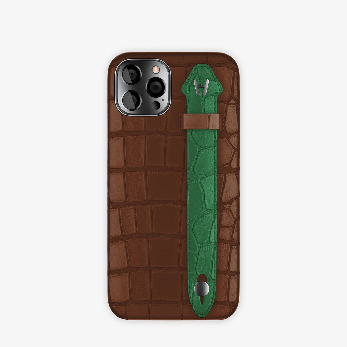 Alligator Side Finger Case iPhone 12 & iPhone 12 & iPhone 12 Pro | Brown Chocolat/Green Emerald -Black