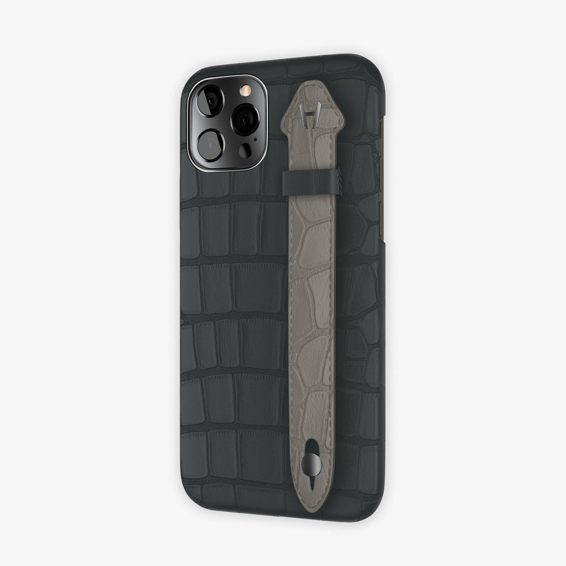 Alligator Side Finger Case iPhone 12 & iPhone 12 Pro | Anthracite/Grey Pearl  -Black