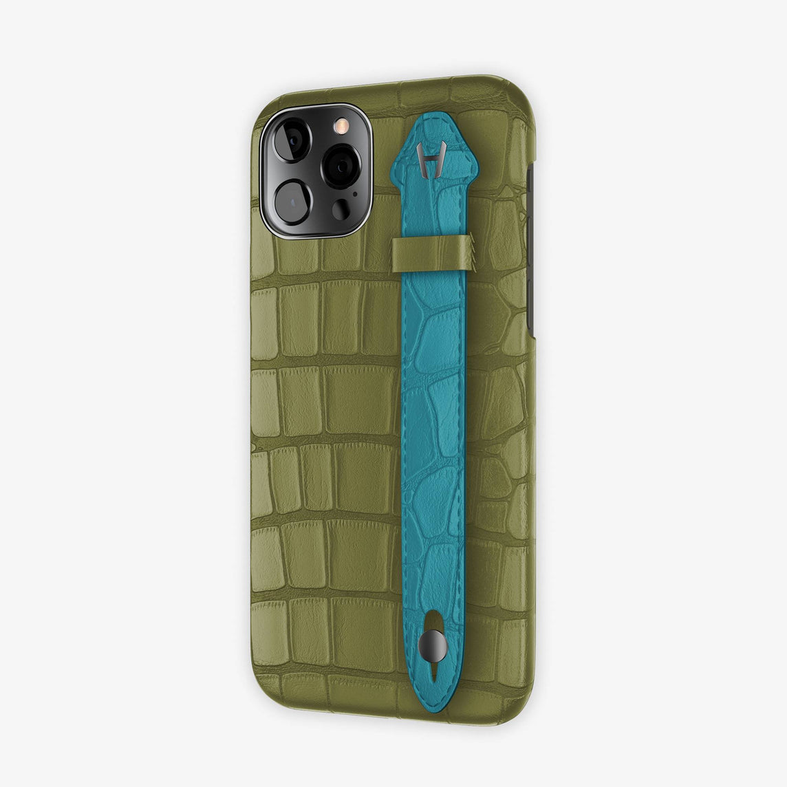 Alligator Side Finger Case  iPhone 12 & iPhone 12 Pro | Khaki/Blue Teal -Black