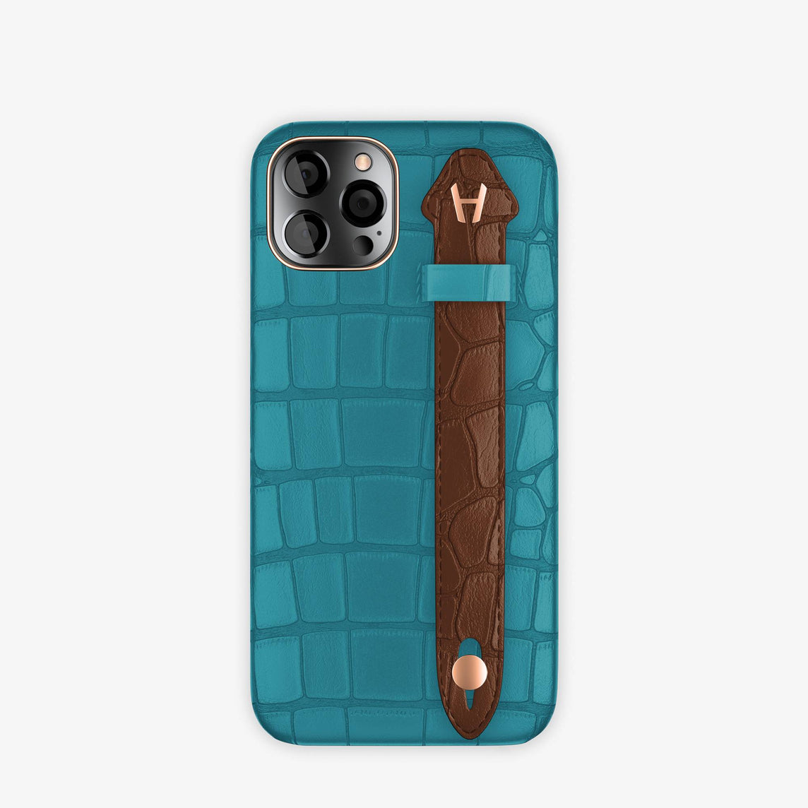 Alligator Side Finger Case iPhone 12 & iPhone 12 Pro | Blue Teal/Brown Chocolat -Rose Gold