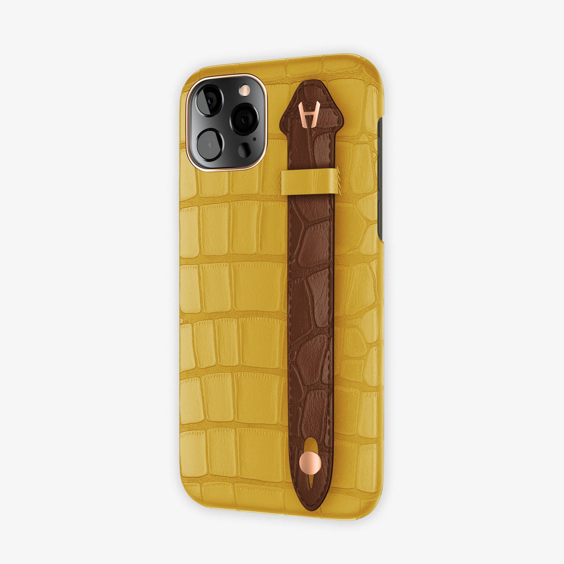 Alligator Side Finger Case iPhone 12 & iPhone 12 Pro | Yellow/Brown Chocolat -Rose Gold