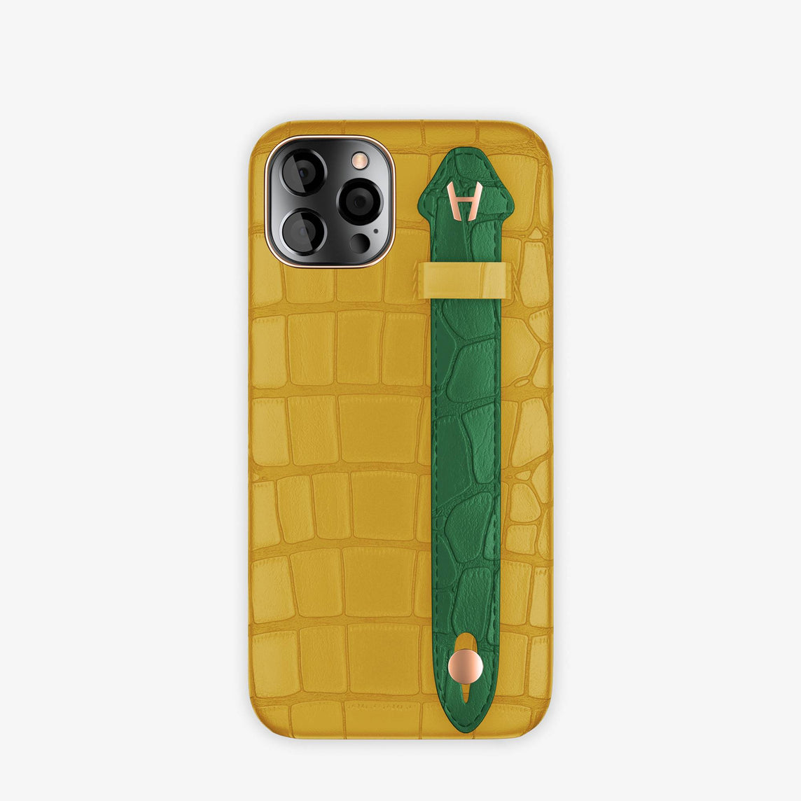 Alligator Side Finger Case iPhone 12 & iPhone 12 Pro | Yellow/Green Emerald -Rose Gold