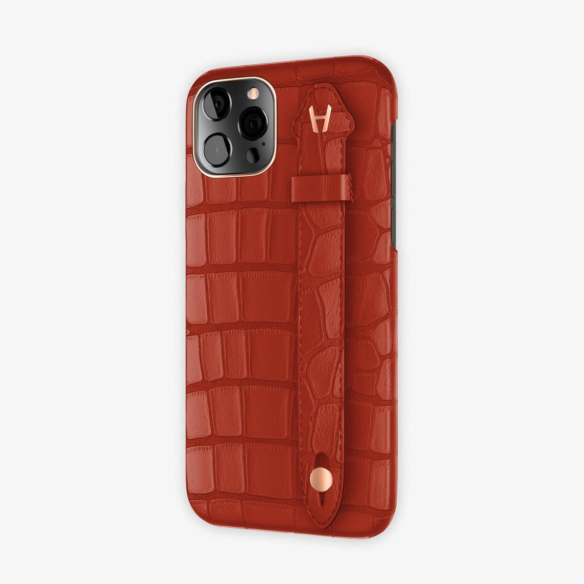 Alligator Side Finger Case iPhone 12 & iPhone 12 Pro | Red Ruby/Red Ruby -Rose Gold