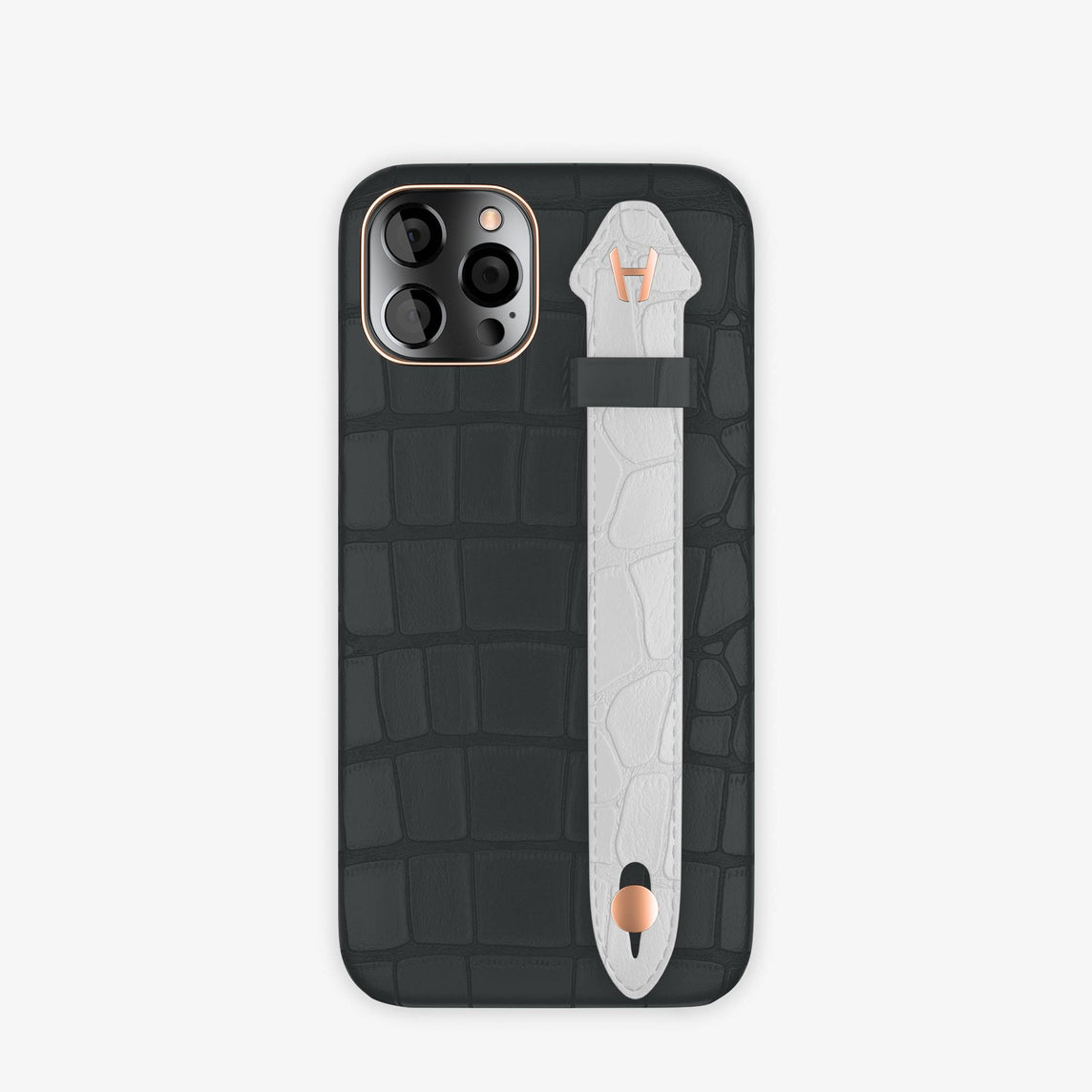 Alligator Side Finger Case iPhone 12 & iPhone 12 Pro | Anthracite/White -Rose Gold