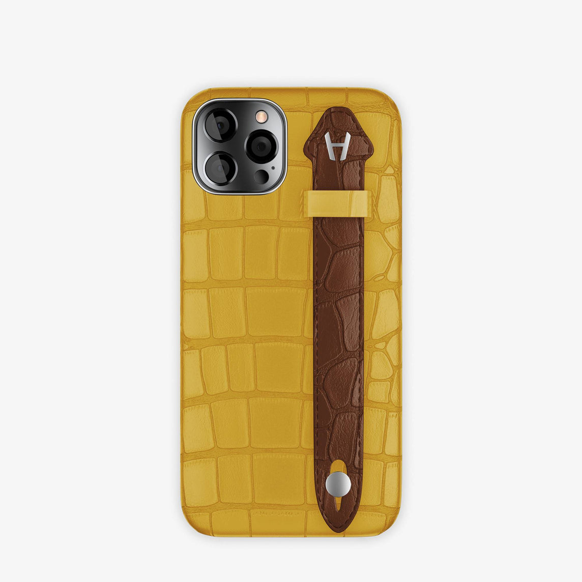 Alligator Side Finger Case iPhone 12 & iPhone 12 Pro | Yellow/Brown Chocolat -Stainless Steel