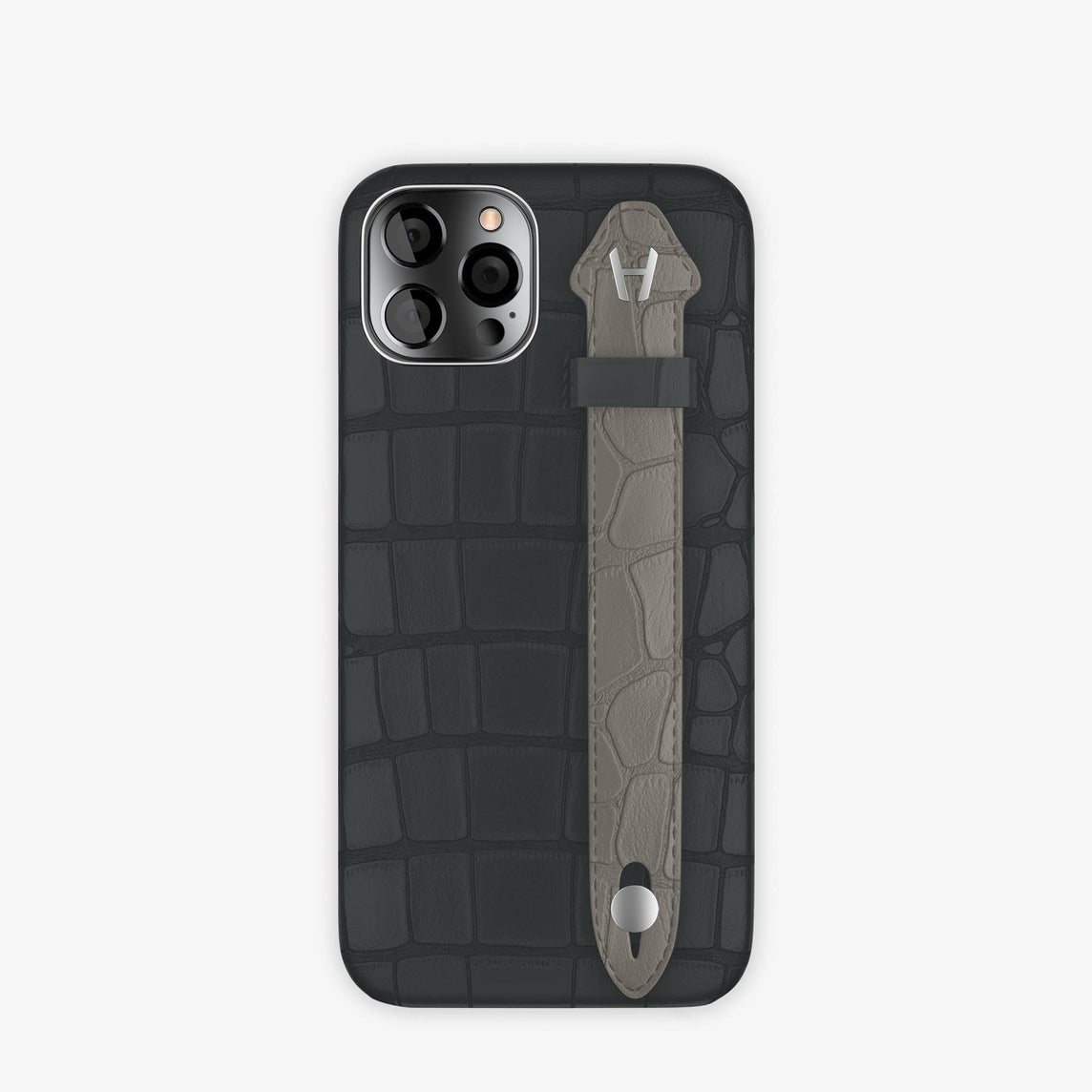 Alligator Side Finger Case iPhone 12 & iPhone 12 Pro | Anthracite/Grey Pearl  -Stainless Steel