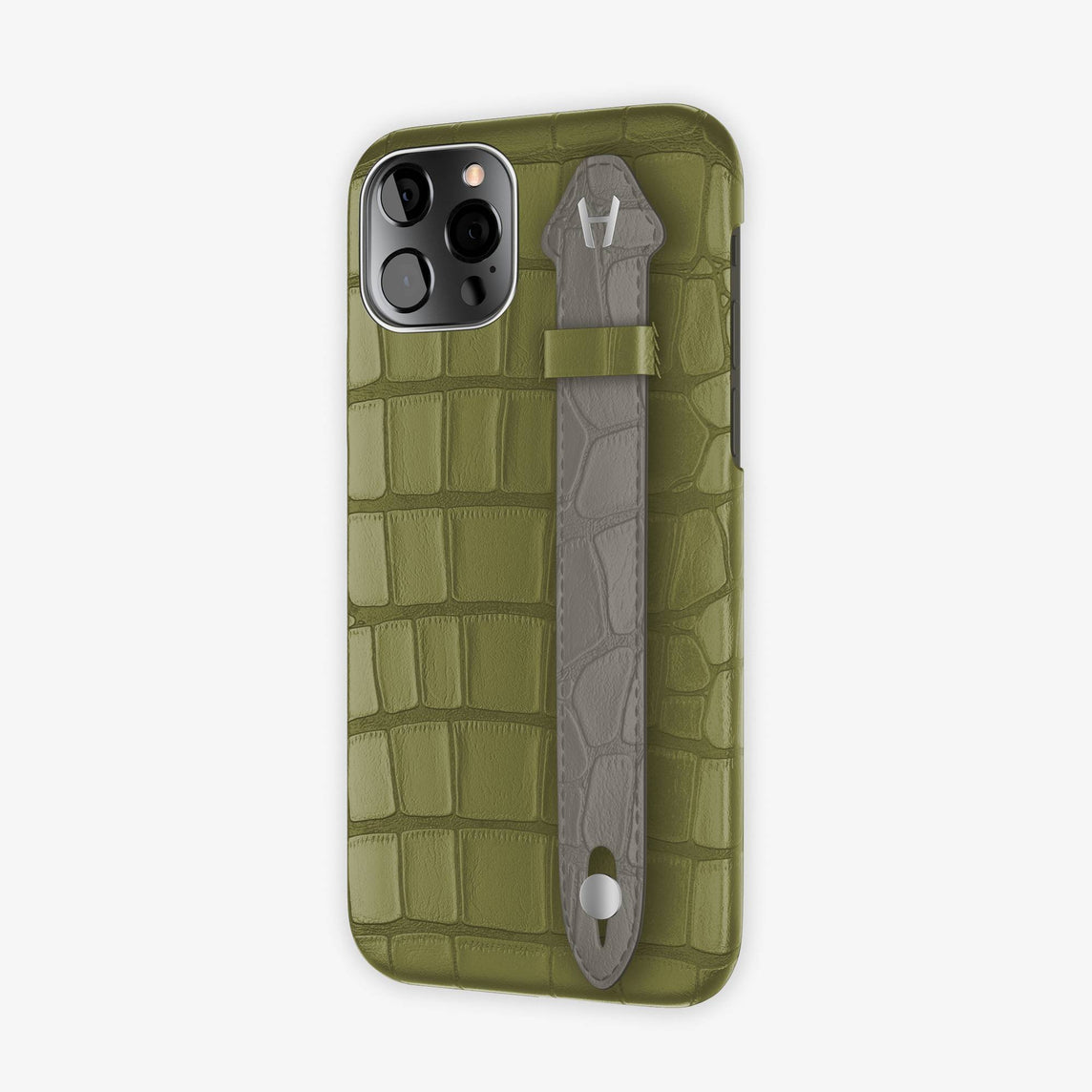 Alligator Side Finger Case iPhone 12 & iPhone 12 Pro | Khaki/Grey Pearl  -Stainless Steel