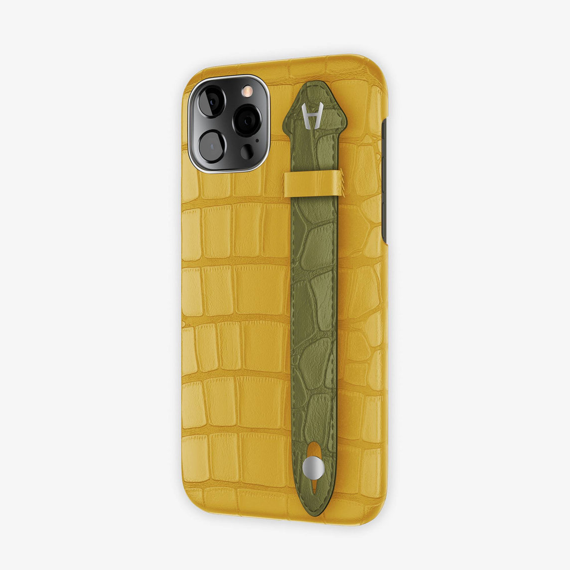Alligator Side Finger Case iPhone 12 & iPhone 12 Pro | Yellow/Khaki -Stainless Steel