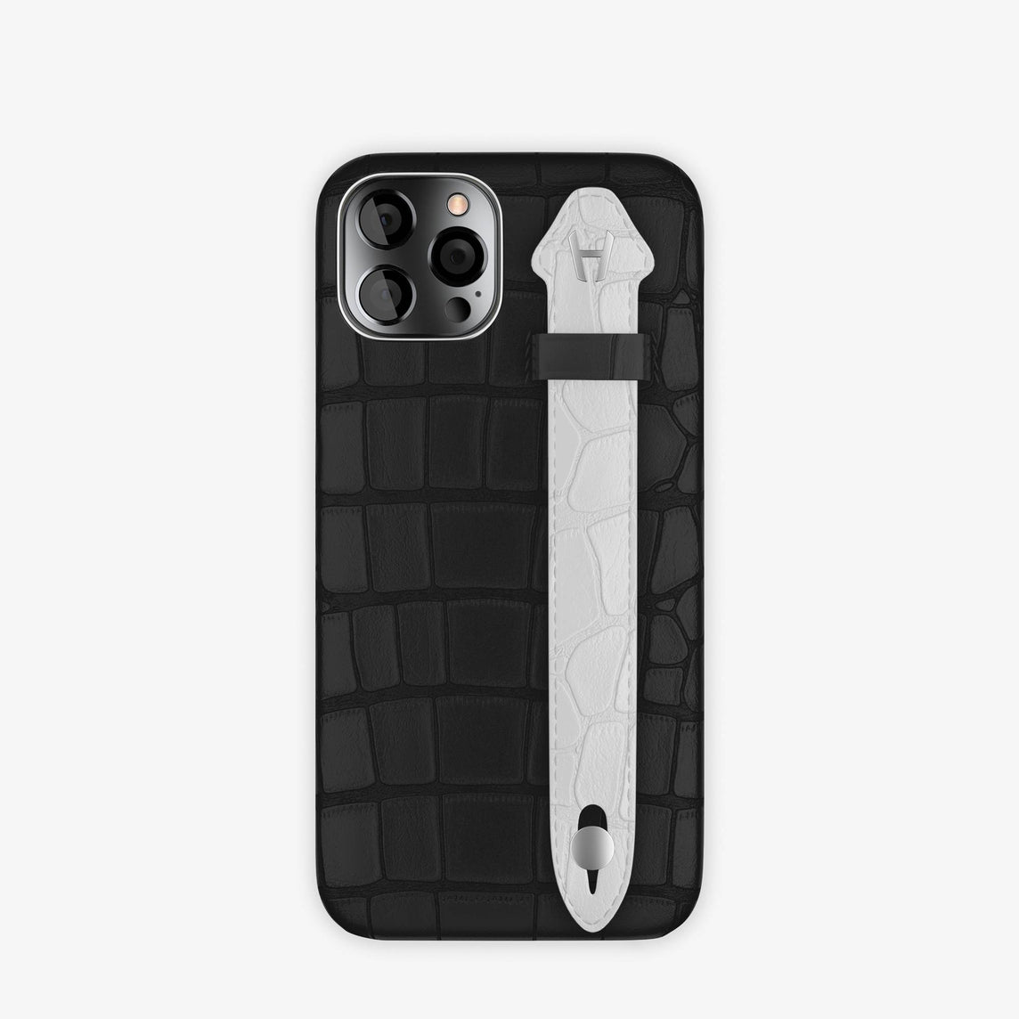 Alligator Side Finger Case iPhone 12 & iPhone 12 Pro | Black/White -Stainless Steel