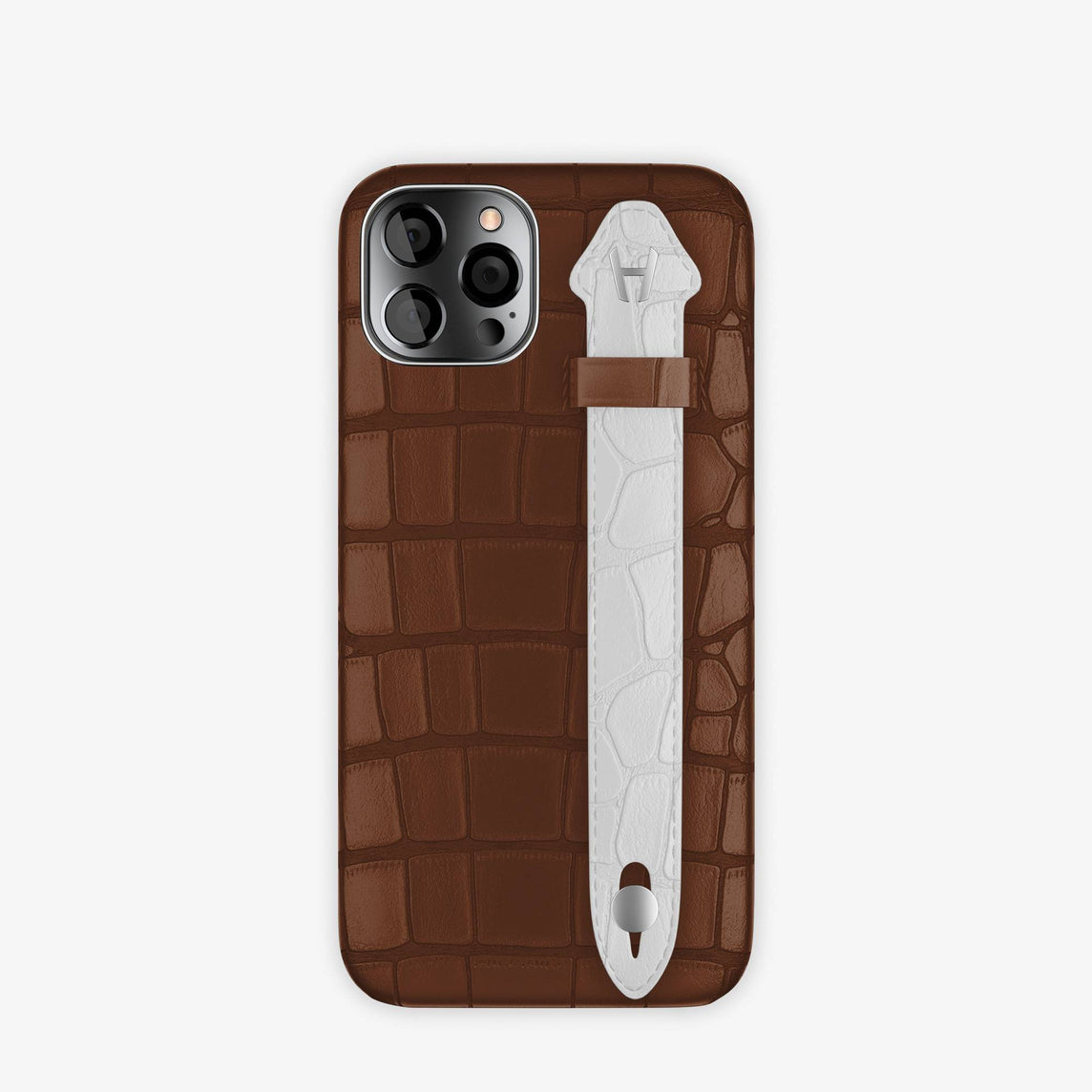 Alligator Side Finger Case iPhone 12 & iPhone 12 Pro | Brown Chocolat/White -Stainless Steel