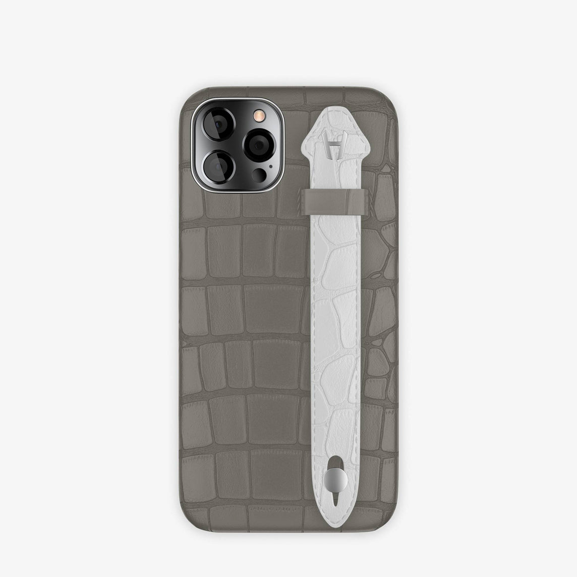 Alligator Side Finger Case iPhone 12 & iPhone 12 Pro | Grey Pearl/White -Stainless Steel