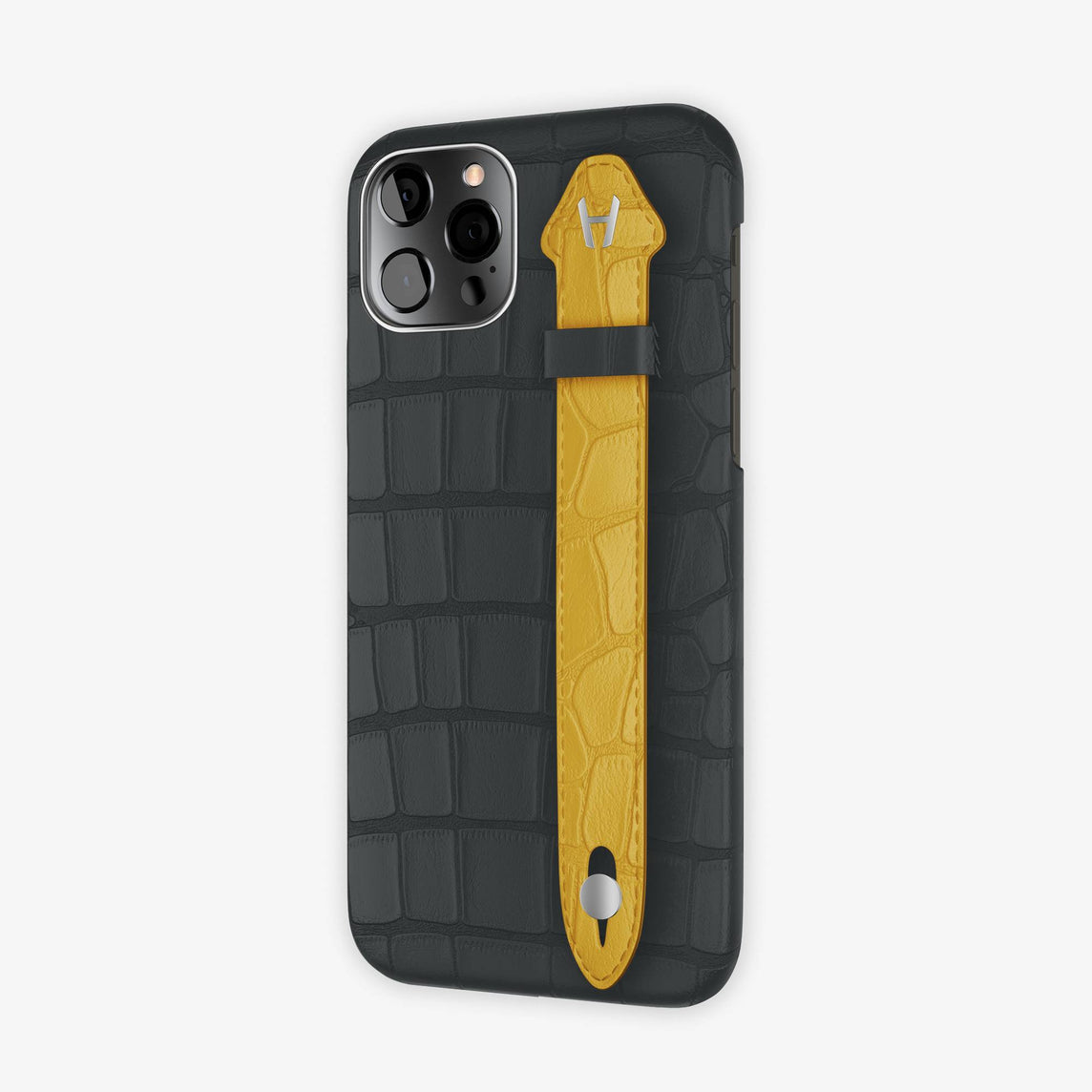Alligator Side Finger Case iPhone 12 Pro | Anthracite/Yellow -Stainless Steel
