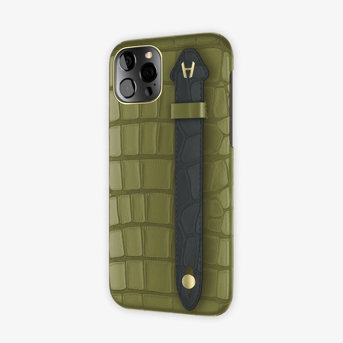 Alligator Side Finger Case iPhone 12 & iPhone 12 Pro | Khaki/Anthracite -Yellow Gold