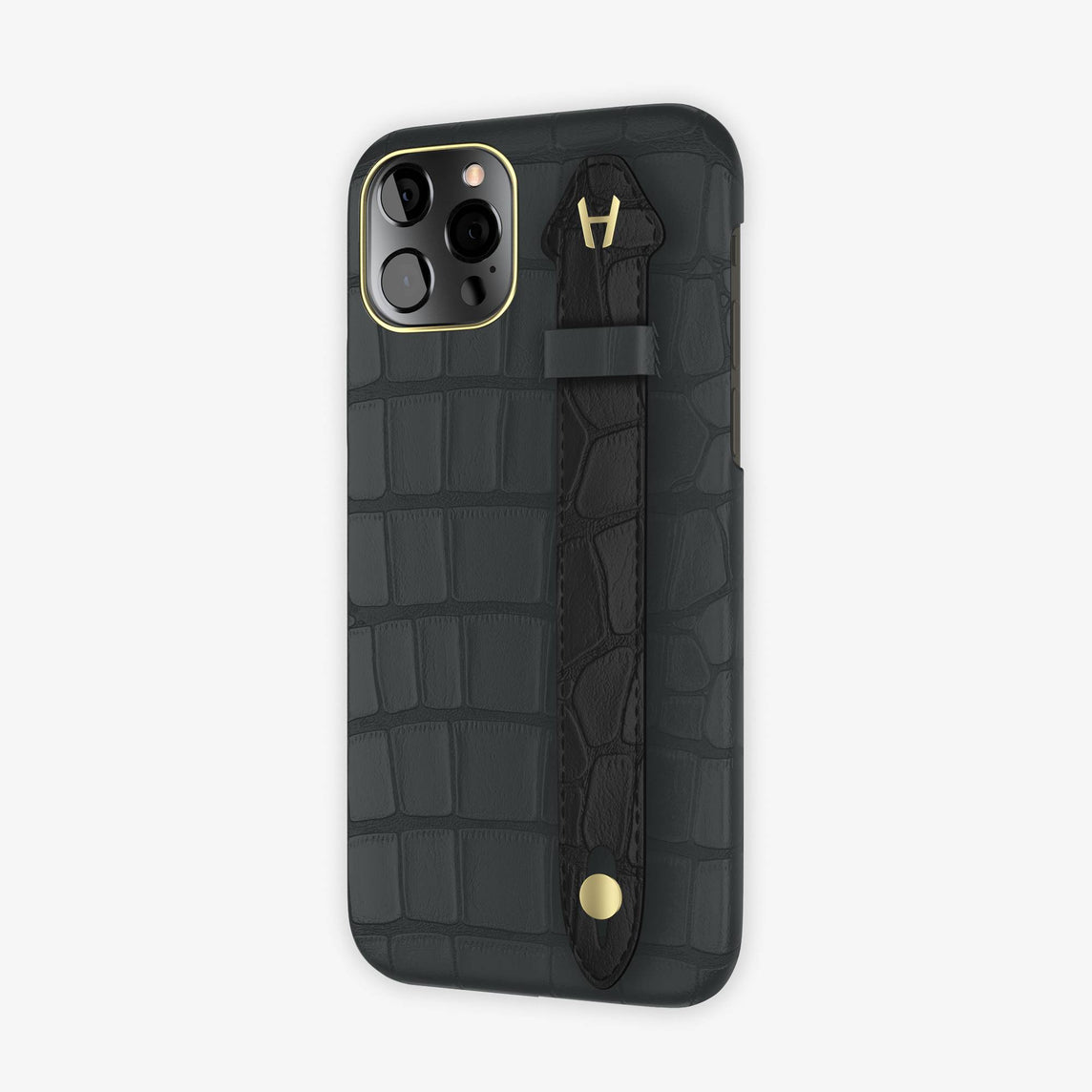 Alligator Side Finger Case iPhone 12 Pro | Anthracite/Black -Yellow Gold
