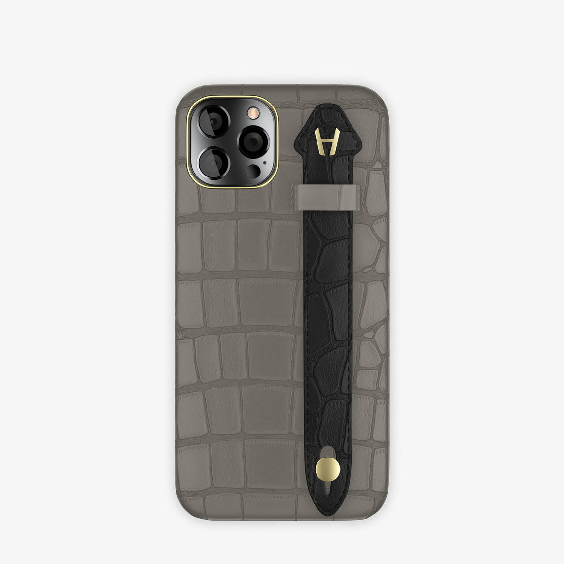 Alligator Side Finger Case iPhone 12 & iPhone 12 Pro | Grey Pearl/Black -Yellow Gold