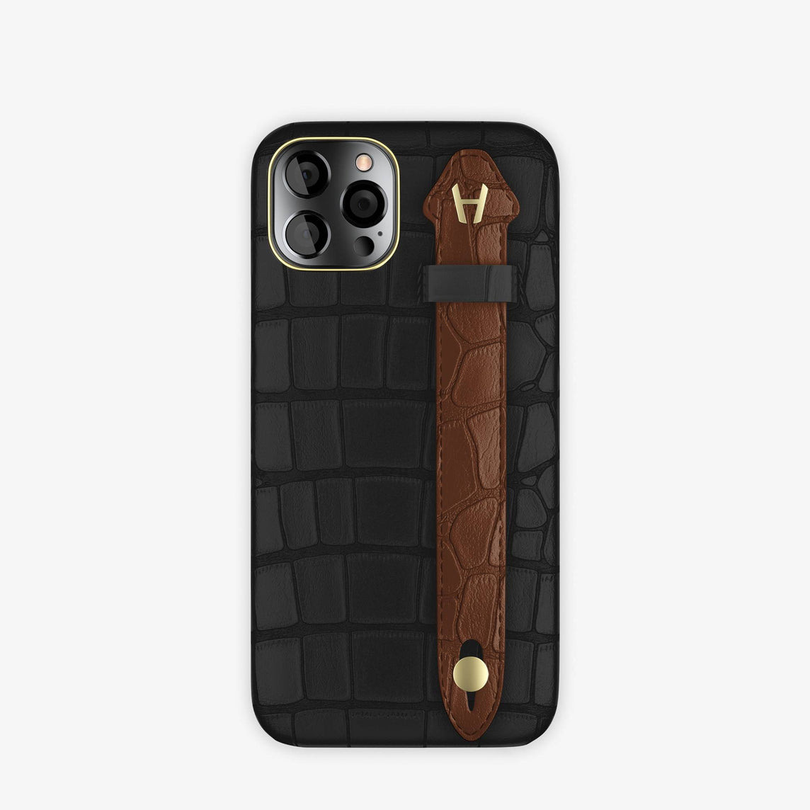 Alligator Side Finger Case iPhone 12 & iPhone 12 Pro | Black/Brown Chocolat -Yellow Gold