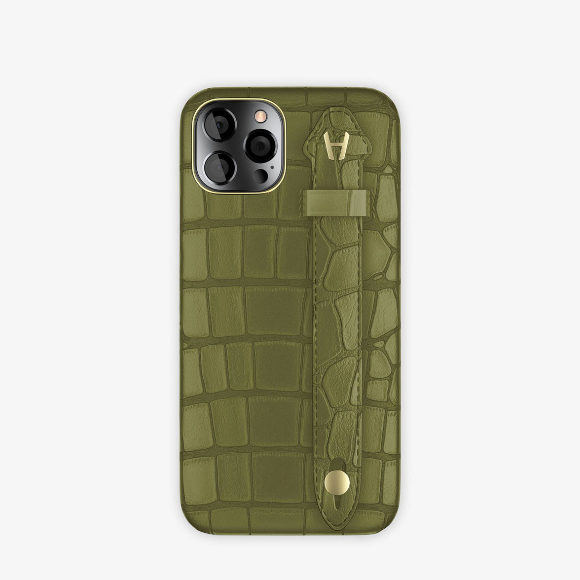 Alligator Side Finger Case iPhone 12 & iPhone 12 Pro | Khaki/Khaki -Yellow Gold