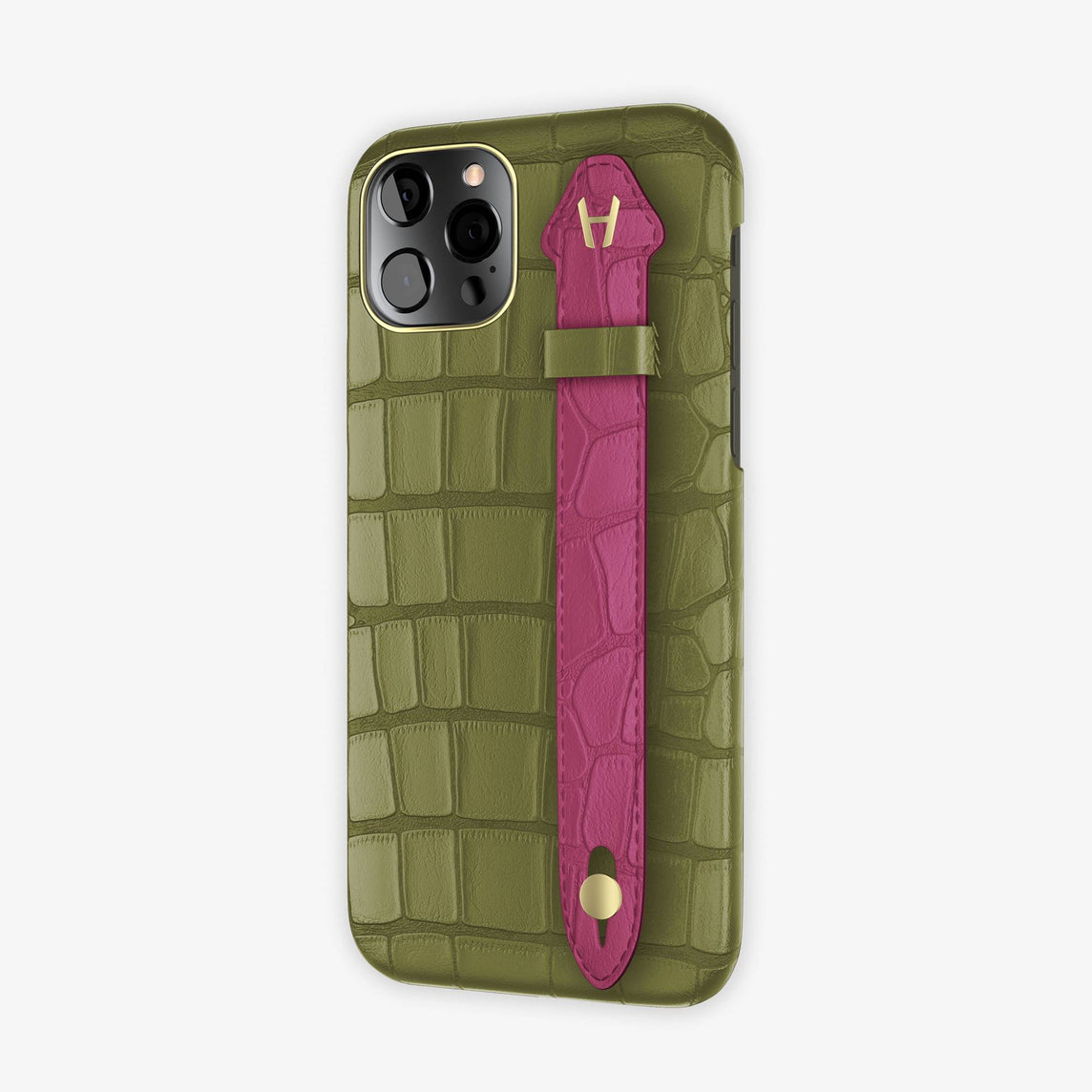 Alligator Side Finger Case iPhone 12 & iPhone 12 Pro | Khaki/Pink Fuchsia -Yellow Gold