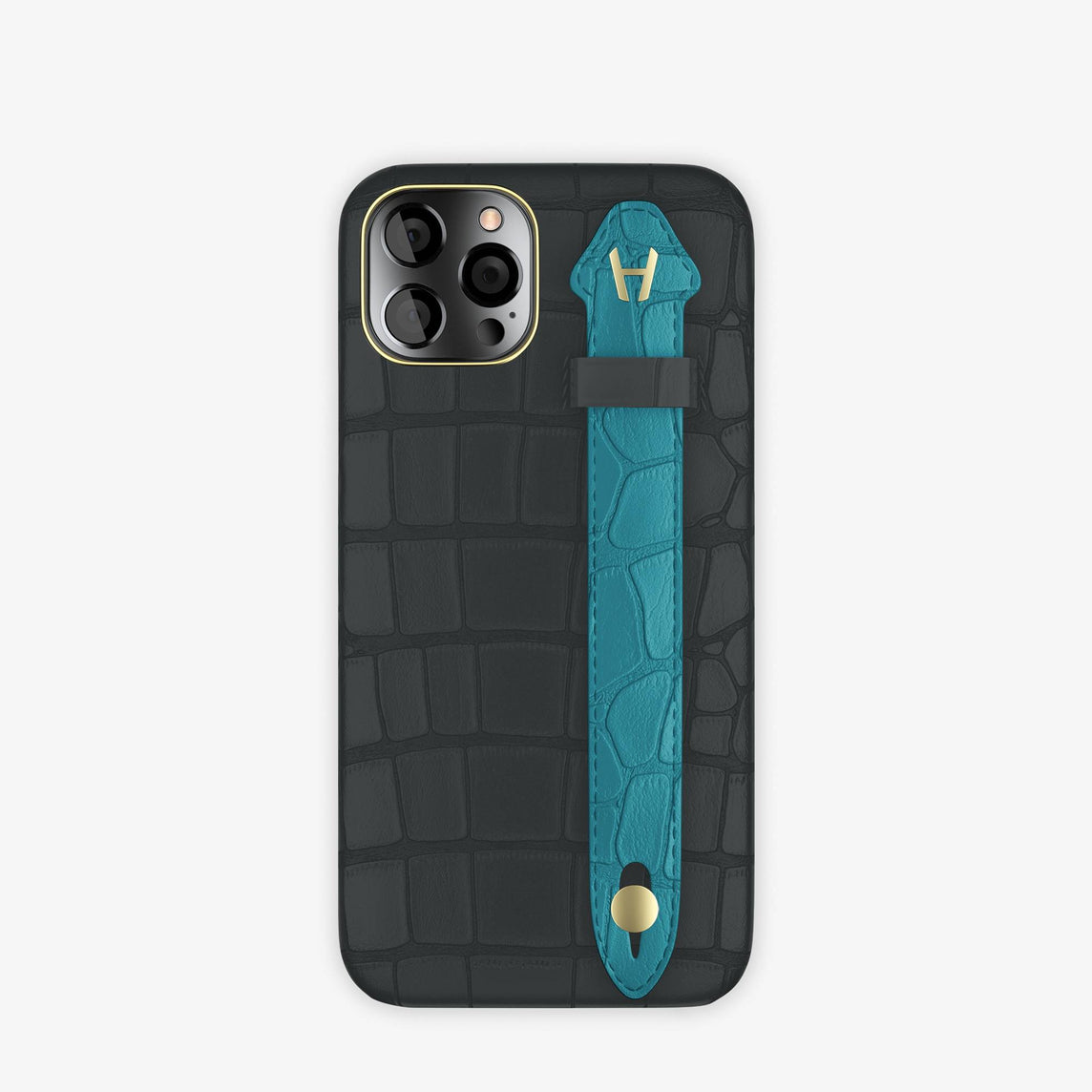 Alligator Side Finger Case iPhone 12 & iPhone 12 Pro | Anthracite/Blue Teal -Yellow Gold