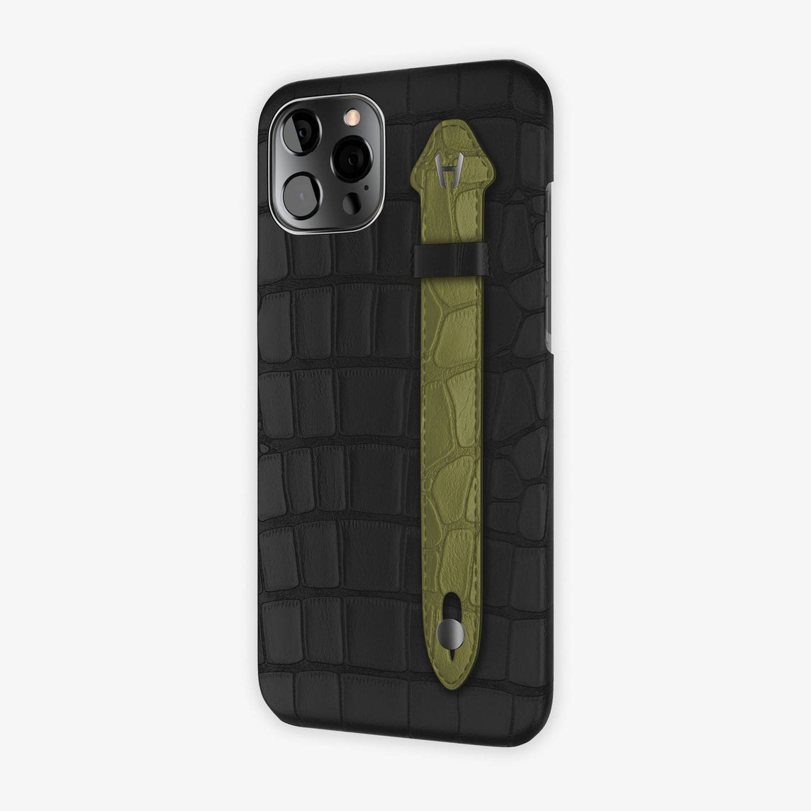 Alligator Side Finger Case iPhone 12 Pro Max | Black/Khaki - Black