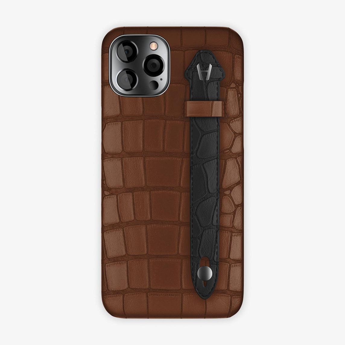 Alligator Side Finger Case iPhone 12 Pro Max | Brown/Black - Black