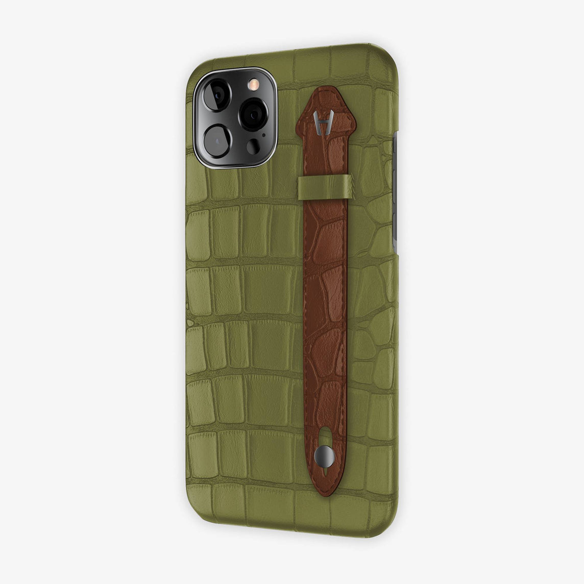 Alligator Side Finger Case iPhone 12 Pro Max | Khaki/Brown - Black