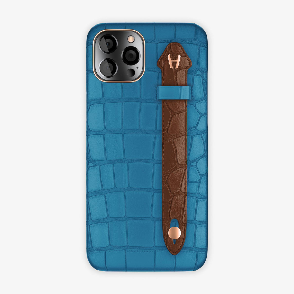 Alligator Side Finger Case iPhone 12 Pro Max | Blue Lagoon/Brown - Rose Gold