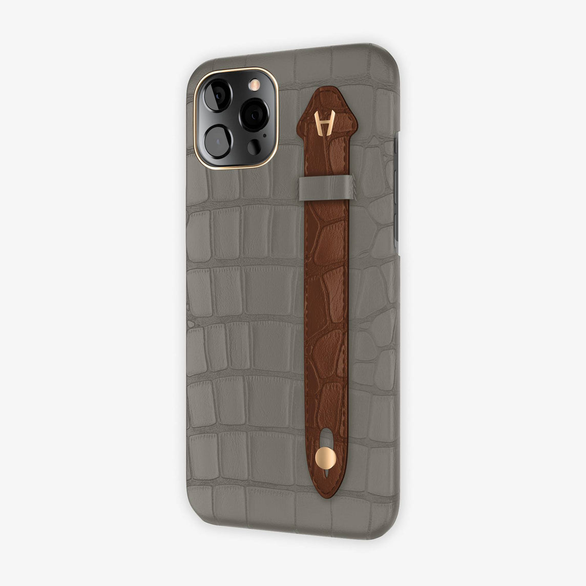 Alligator Side Finger Case iPhone 12 Pro Max | Pearl Grey/Brown - Rose Gold