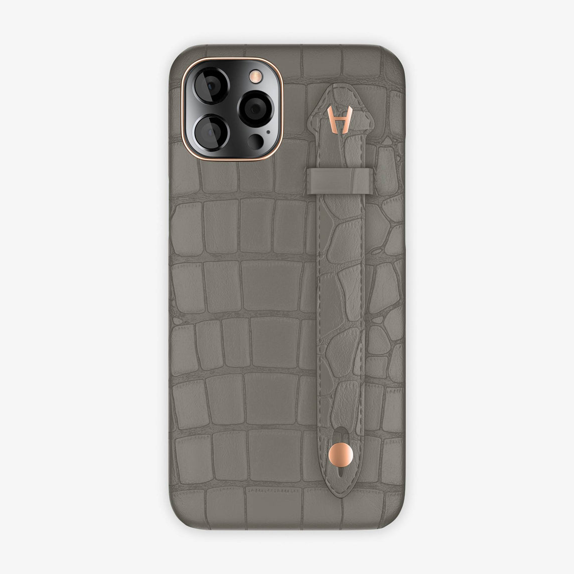Alligator Side Finger Case iPhone 12 Pro Max | Pearl Grey/Grey - Rose Gold