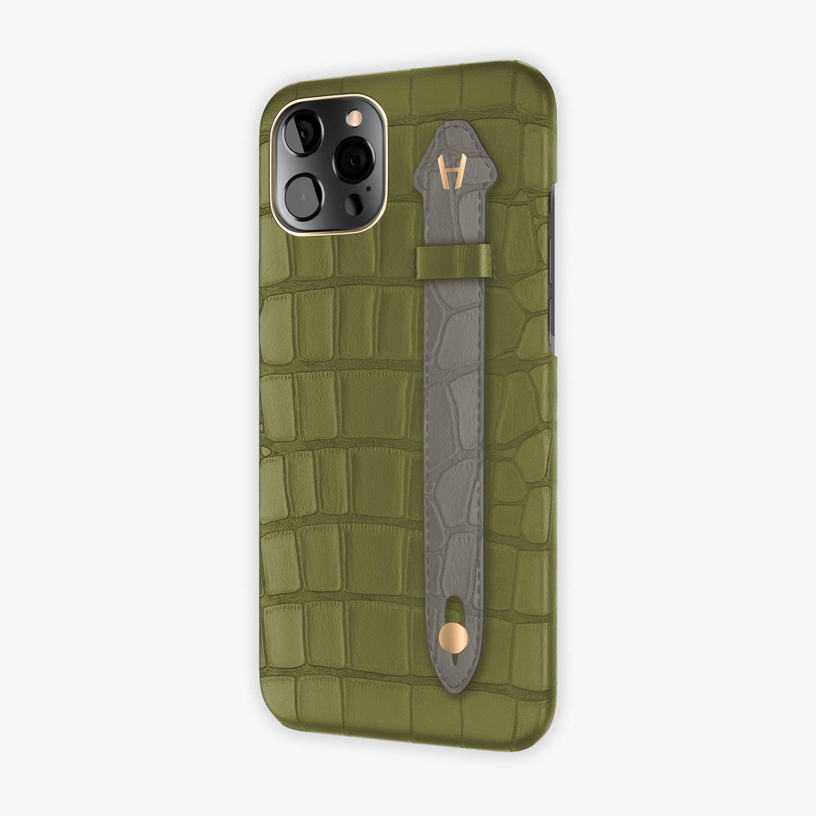 Alligator Side Finger Case iPhone 12 Pro Max | Khaki/Grey - Rose Gold