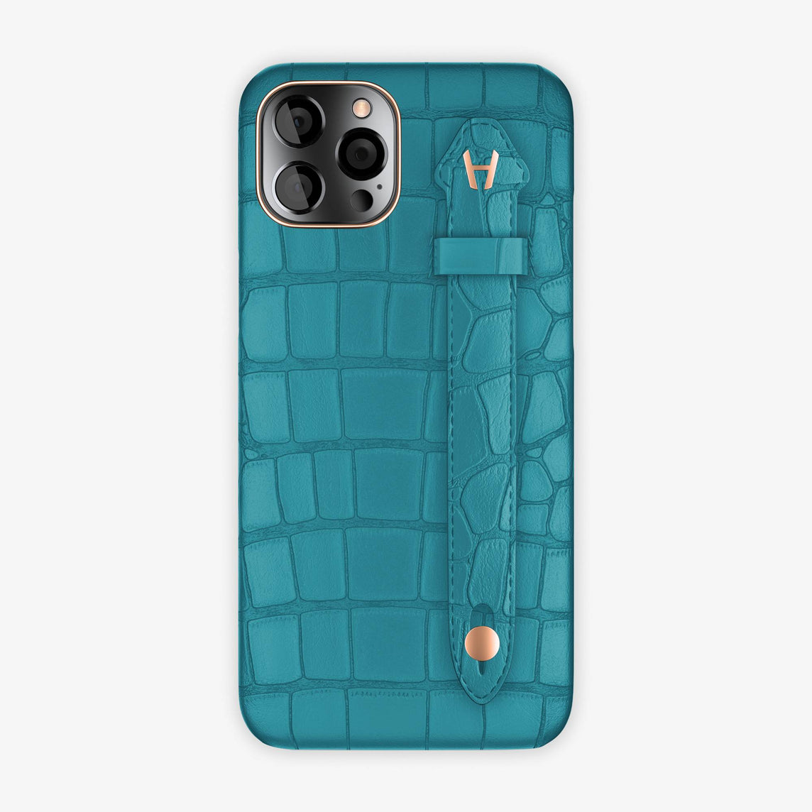 Alligator Side Finger Case iPhone 12 Pro Max | Blue Teal/Blue Teal - Rose Gold