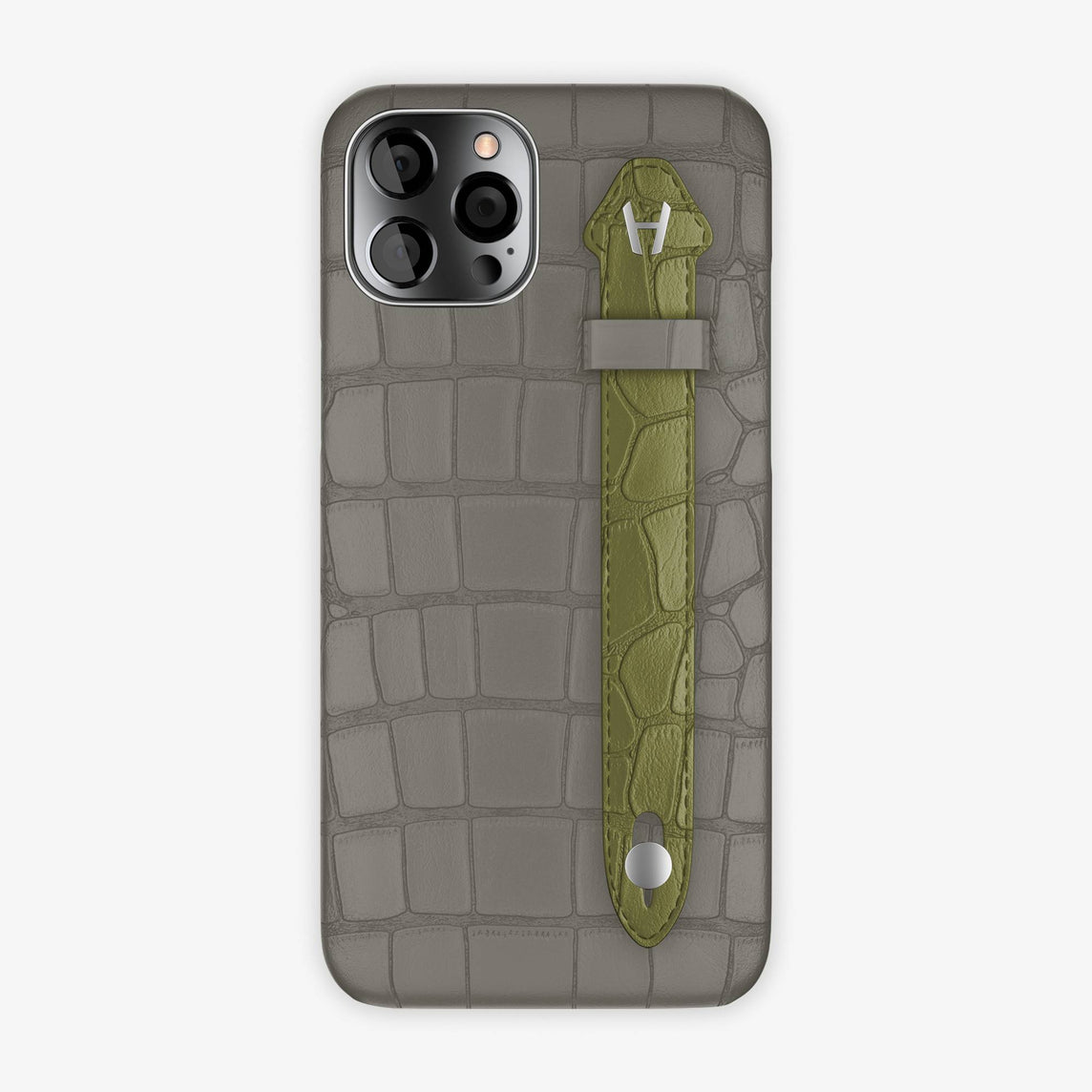 Alligator Side Finger Case iPhone 12 Pro Max | Pearl Grey/Khaki - Stainless Steel