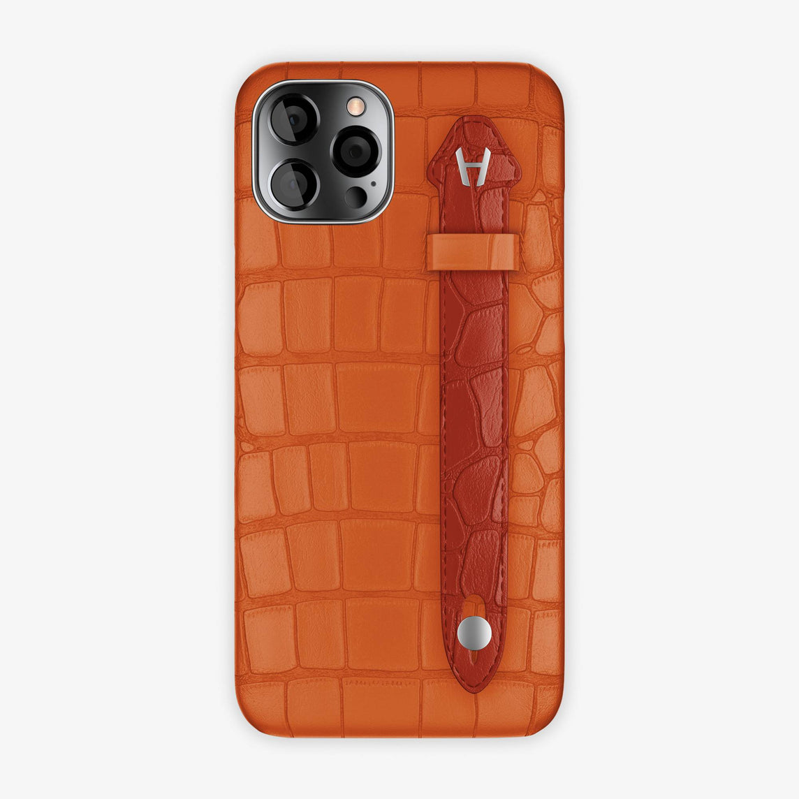 Alligator Side Finger Case iPhone 12 Pro Max | Orange Sunset/Red - Stainless-Steel