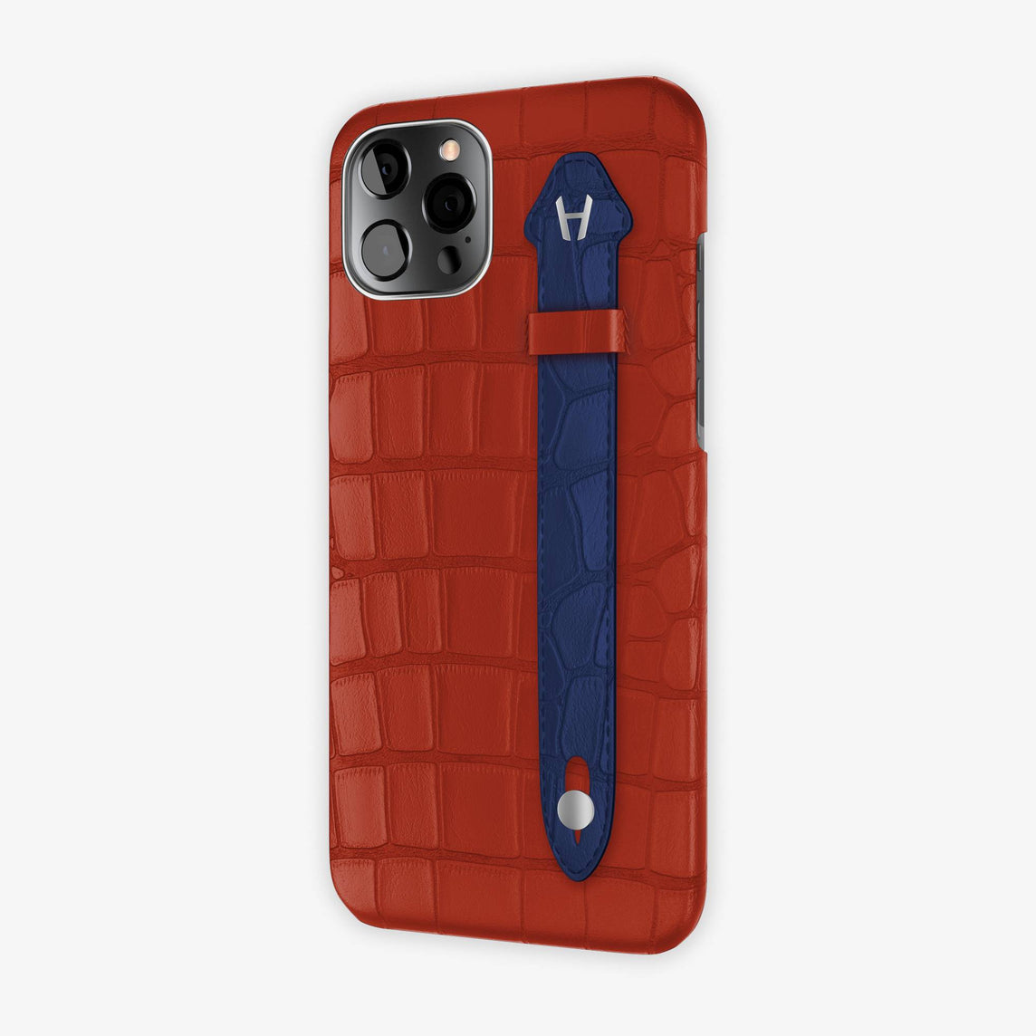 Alligator Side Finger Case iPhone 12 Pro Max | Red/Navy Blue - Stainless-Steel