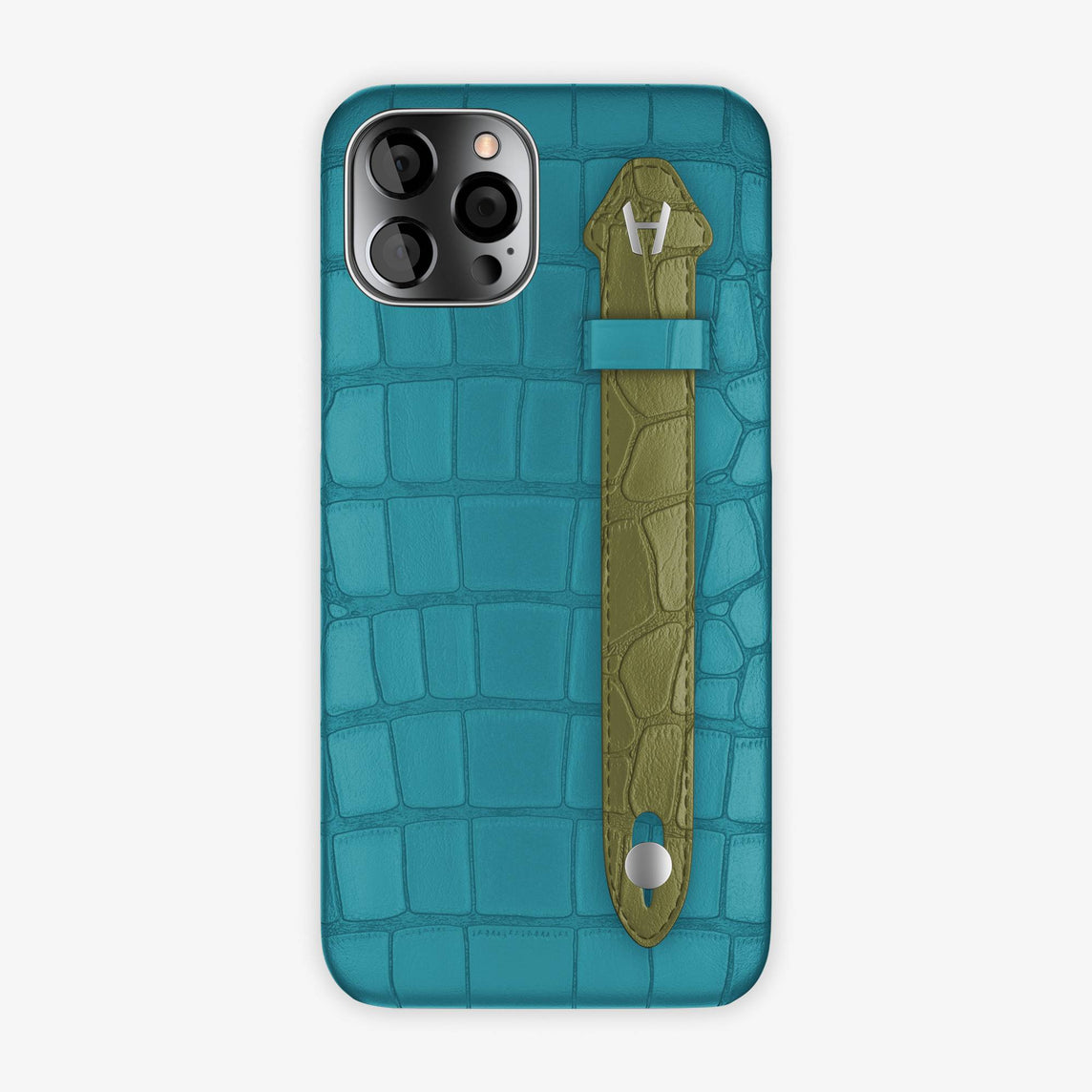 Alligator Side Finger Case iPhone 12 Pro Max | Blue Teal/Khaki - Stainless Steel