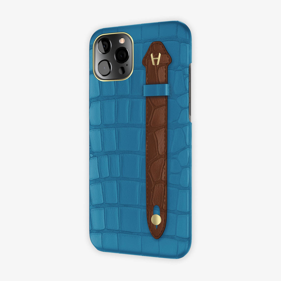 Alligator Side Finger Case iPhone 12 Pro Max | Blue Lagoon/Brown - Yellow Gold