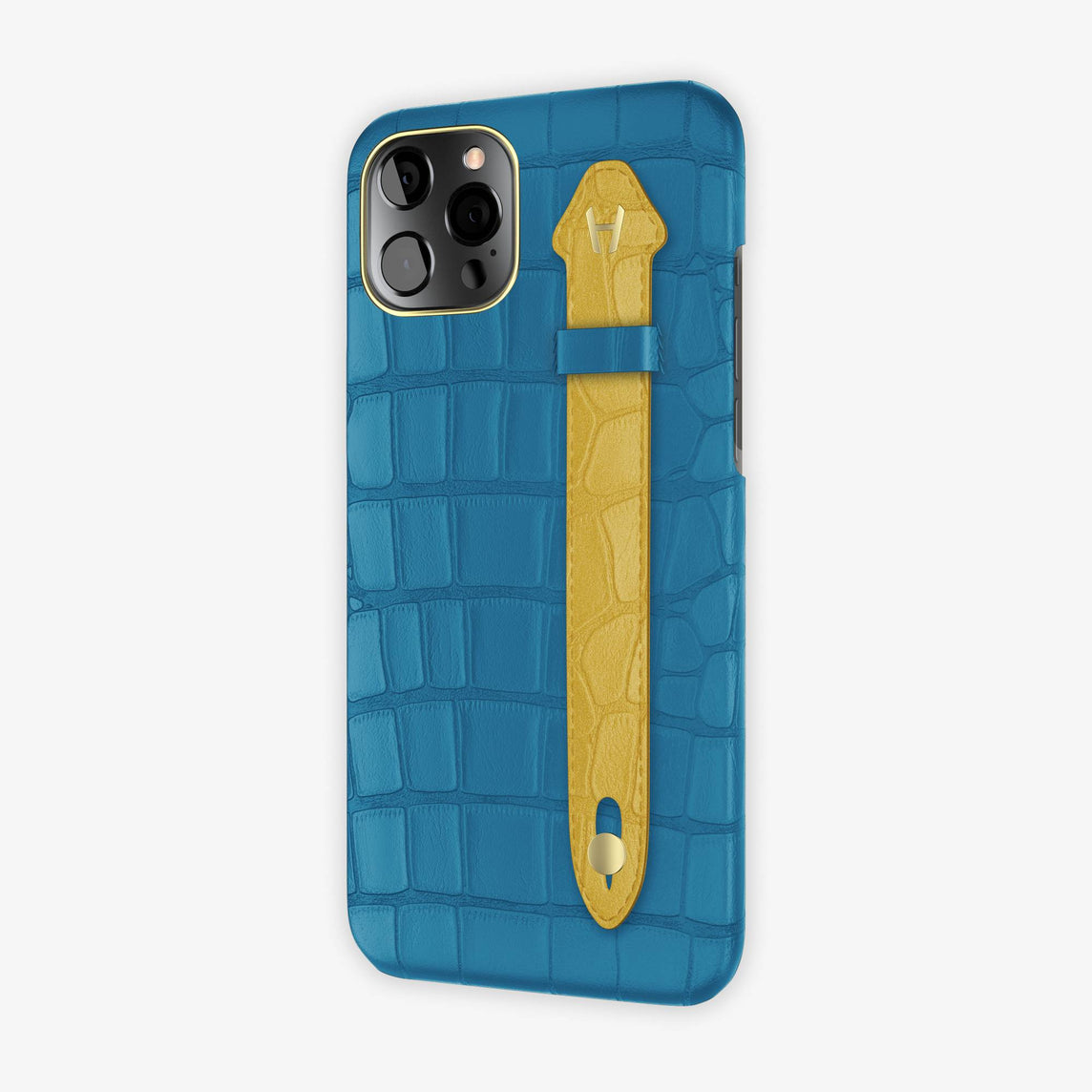 Alligator Side Finger Case iPhone 12 Pro Max | Blue Lagoon/Gold - Yellow Gold