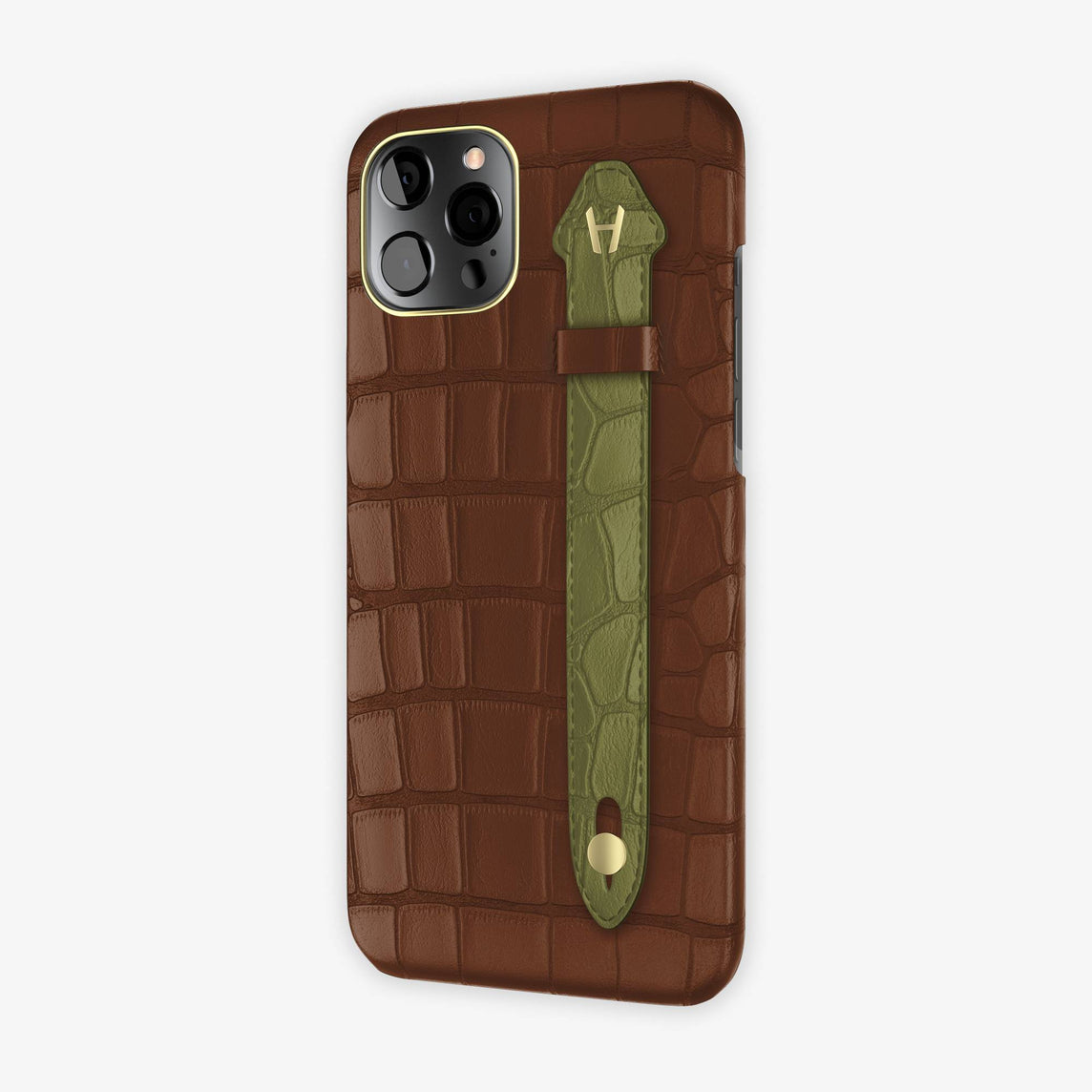 Alligator Side Finger Case iPhone 12 Pro Max | Brown/Khaki - Yellow Gold