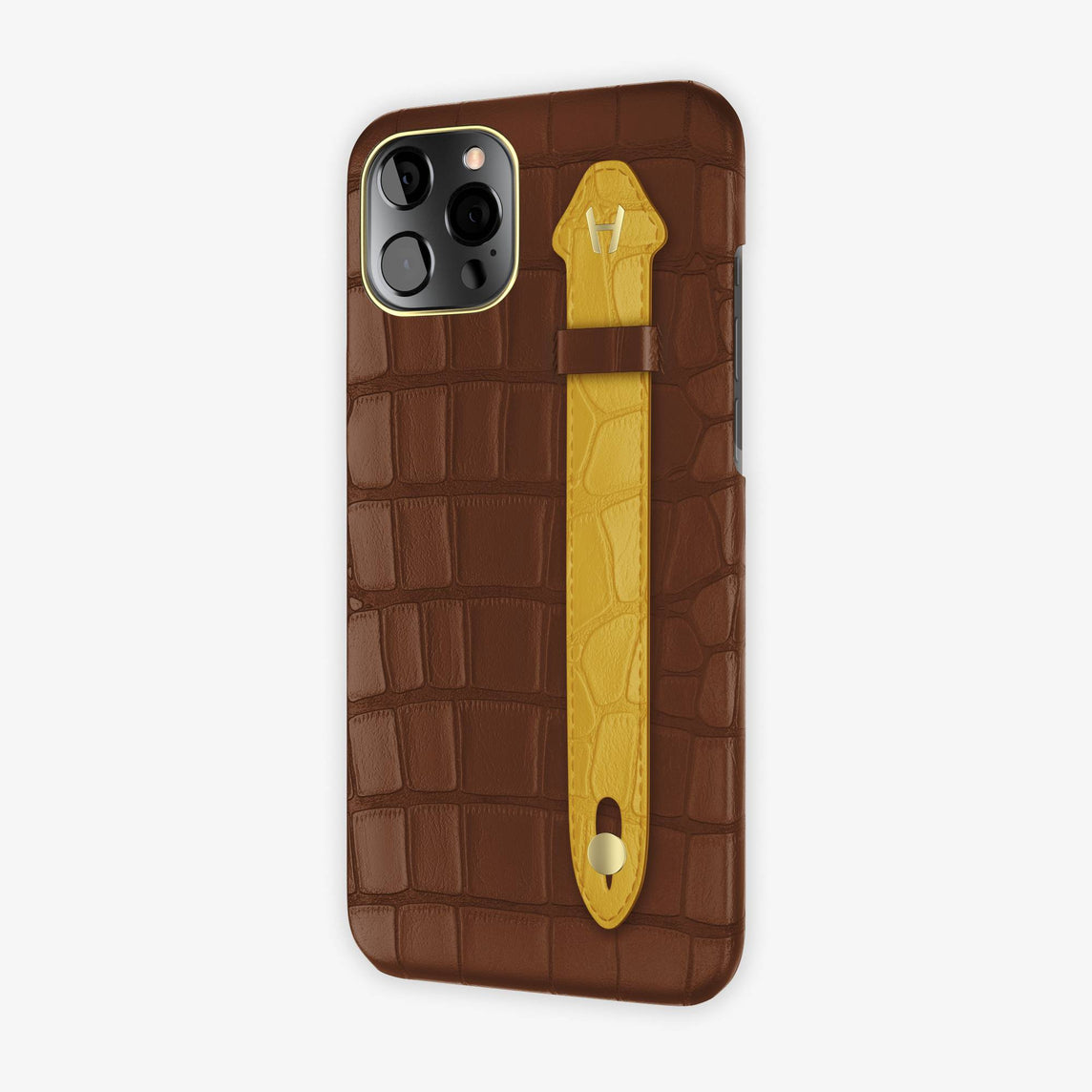 Alligator Side Finger Case iPhone 12 Pro Max | Brown/Yellow - Yellow Gold