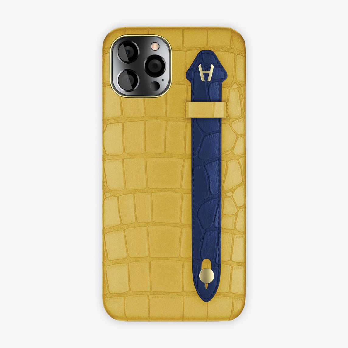 Alligator Side Finger Case iPhone 12 Pro Max | Gold/Navy Blue - Yellow-Gold