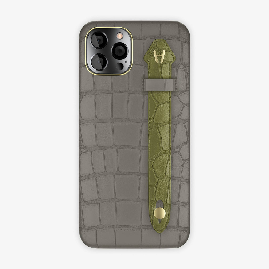 Alligator Side Finger Case iPhone 12 Pro Max | Pearl Grey/Khaki - Yellow Gold