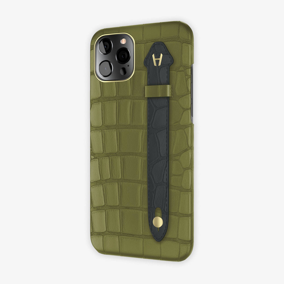 Alligator Side Finger Case iPhone 12 Pro Max | Khaki/Anthracite - Yellow-Gold