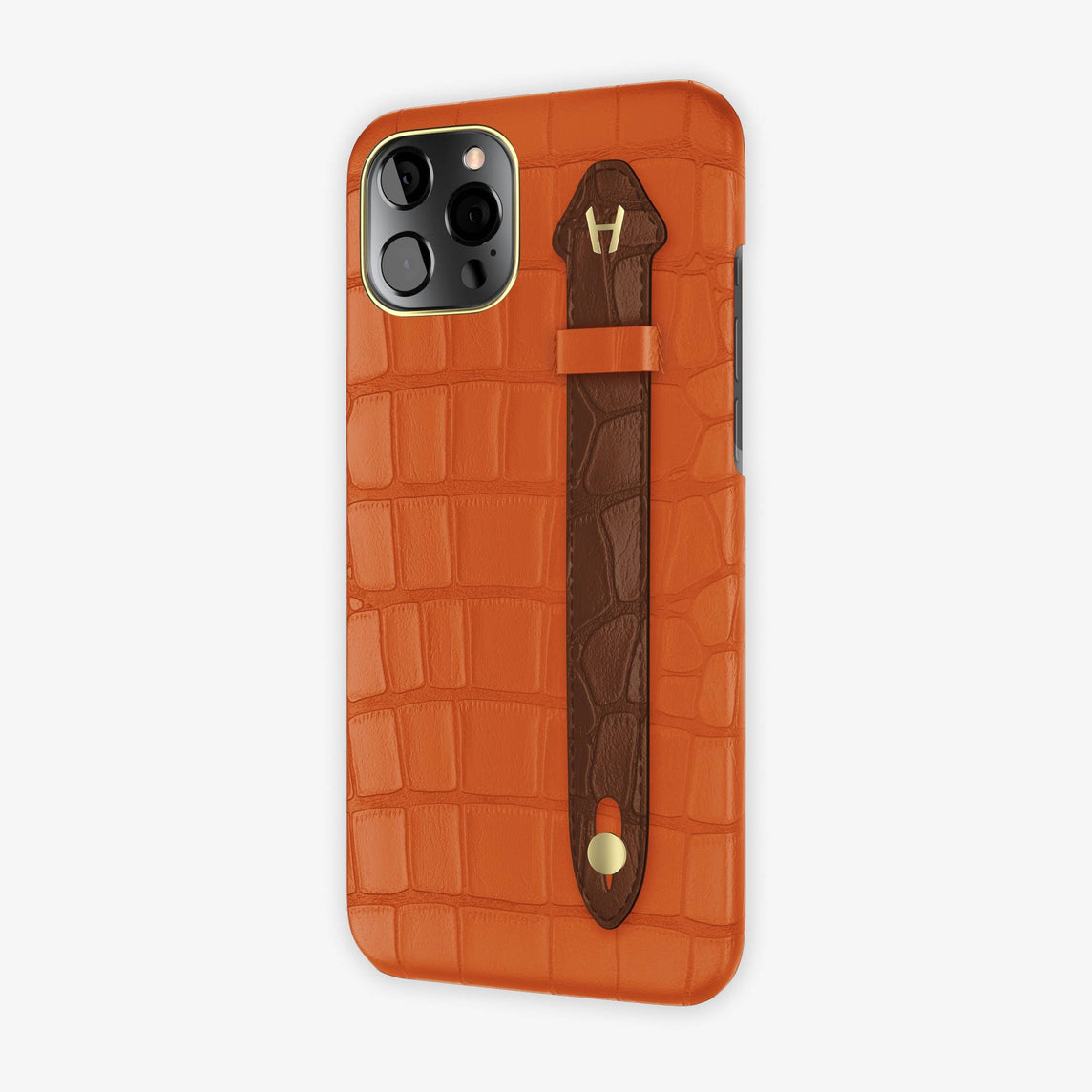 Alligator Side Finger Case iPhone 12 Pro Max | Orange Sunset/Brown - Yellow-Gold