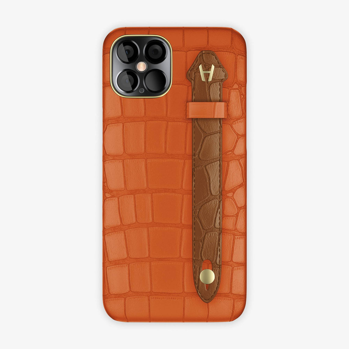 Alligator Side Finger Case iPhone 12 Pro Max | Orange Sunset/Cognac - Yellow-Gold