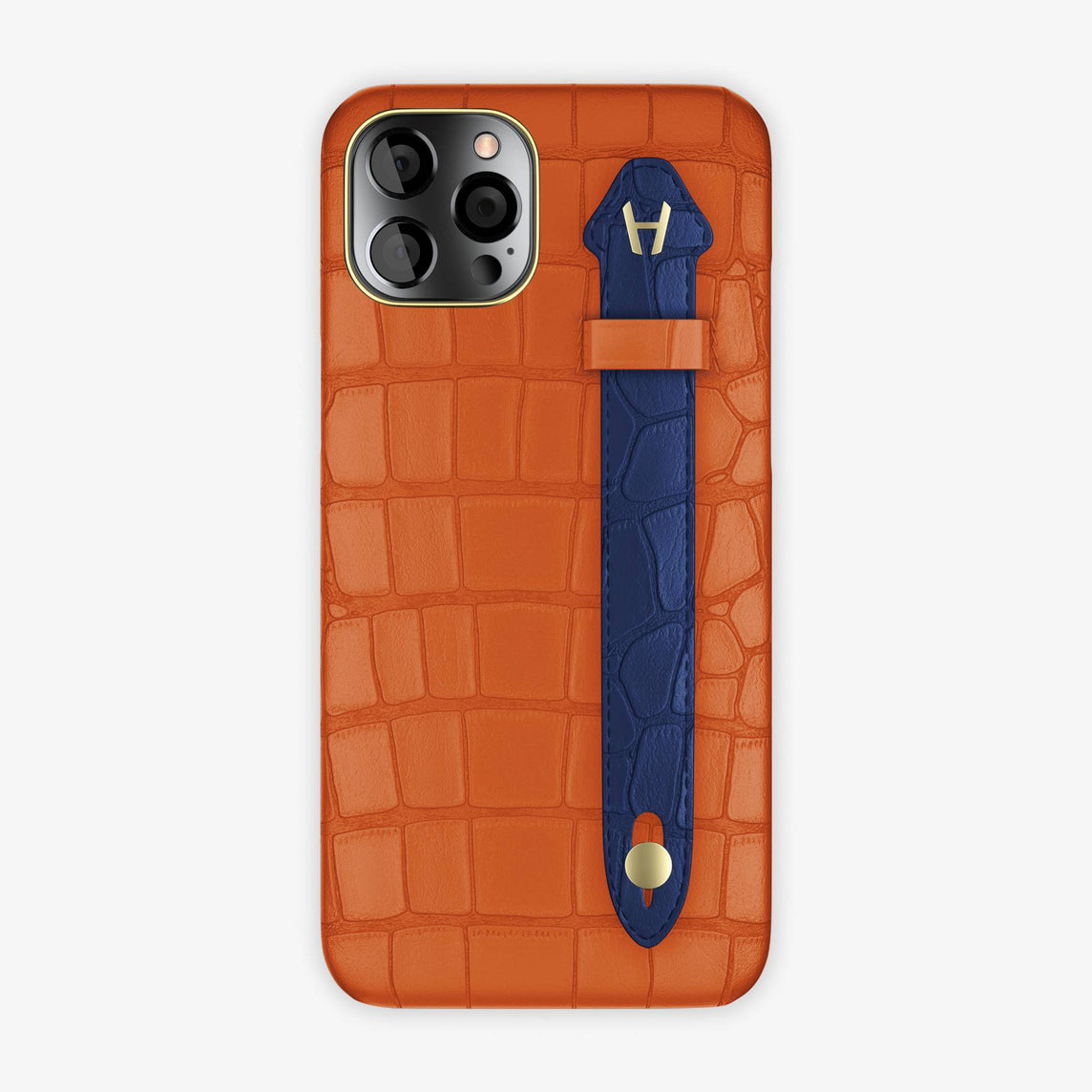 Alligator Side Finger Case iPhone 12 Pro Max | Orange Sunset/Navy Blue - Yellow-Gold