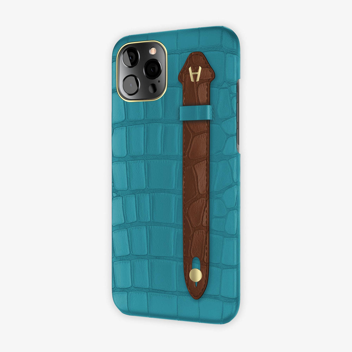 Alligator Side Finger Case iPhone 12 Pro Max | Blue Teal/Brown - Yellow Gold